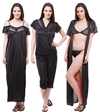 Fasense Satin Nightwear 6 Pcs Set of Nighty Robe Top Capry Bra   Thong  (Large ee8b4a6c2