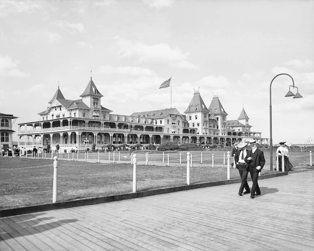 Restored Black & White Photo - Historic Brooklyn, New York - The Boardwalk at the Brighton Beach Hotel, c1903