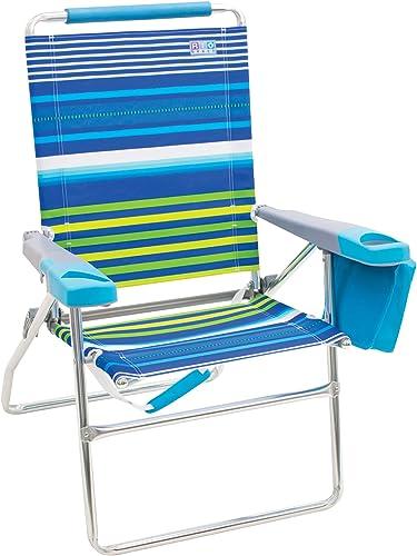 Rio Brands Rio Beach 4-Position 17 Tall Folding Beach Chair – Stripe, 17 Extended Height 4 Position Folding Beach Chair