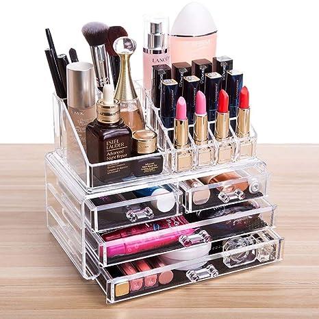 FOBUY Caja acrílica Estante de maquillajes Maquillaje Cosméticos Joyería Organizador (4 Drawers Clear C) (2 layer Color transparente): Amazon.es: Juguetes y ...