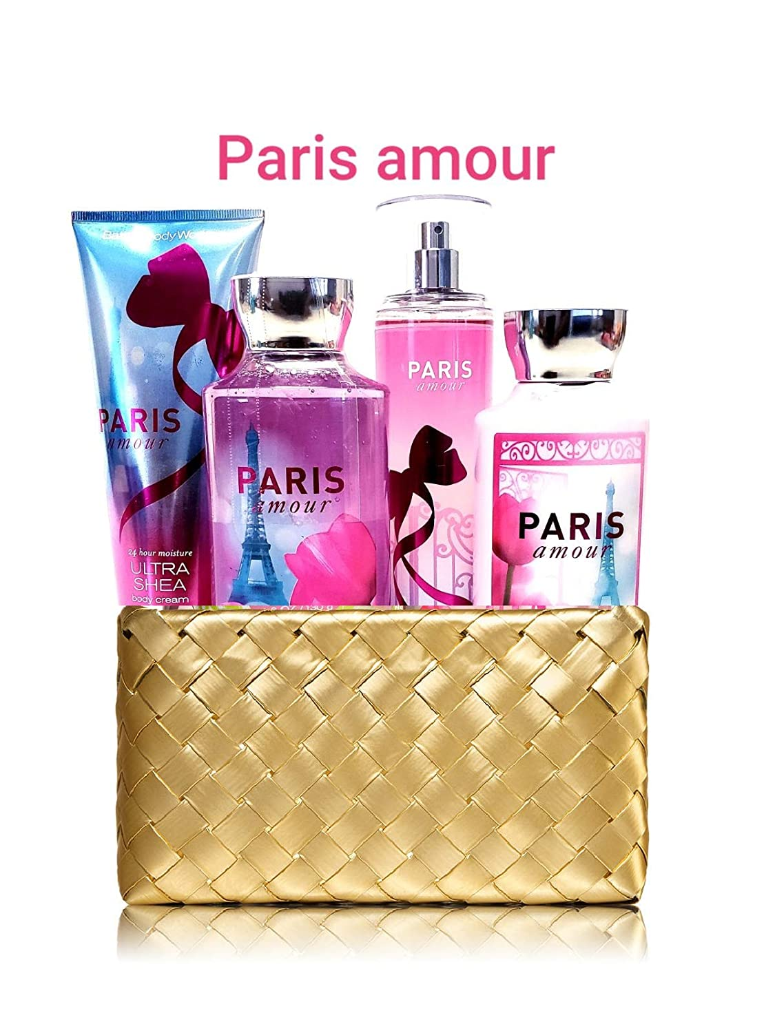 Bath and Body Works PARIS AMOUR Gold Woven Basket Gift Kit
