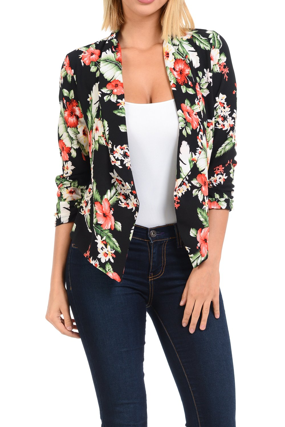 Auliné Collection Womens Casual Lightweight 3/4 Sleeve Fitted Open Blazer Floral Print 4 Medium