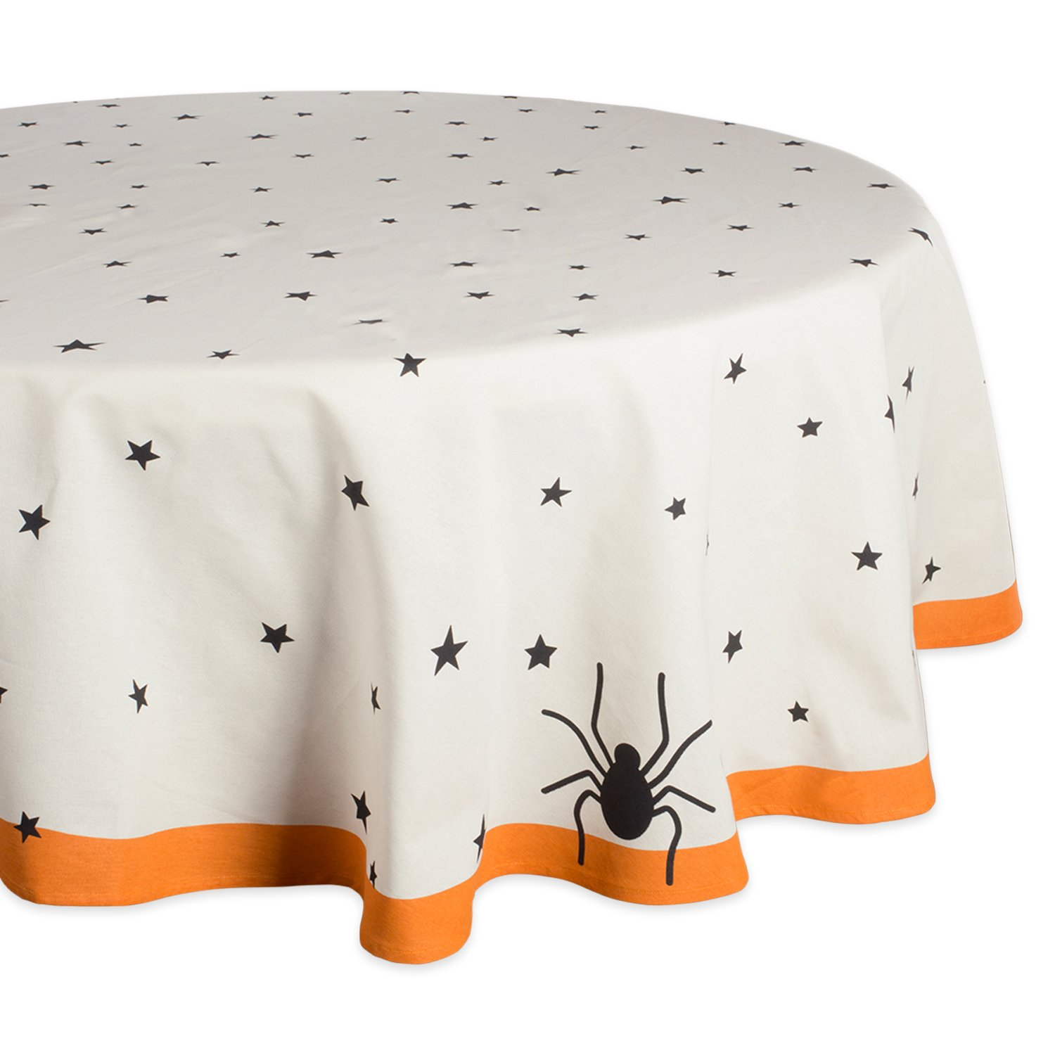 DII 70'' Round Cotton Tablecloth, Black Stars - Perfect for Halloween, Dinner Parties and Scary Movie Nights