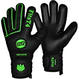 FitsT4 Goalie Goalkeeper Gloves with Fingersaves & Super Grip Palms Soccer Goalkeeper Gloves for Youth, Adult Green 7