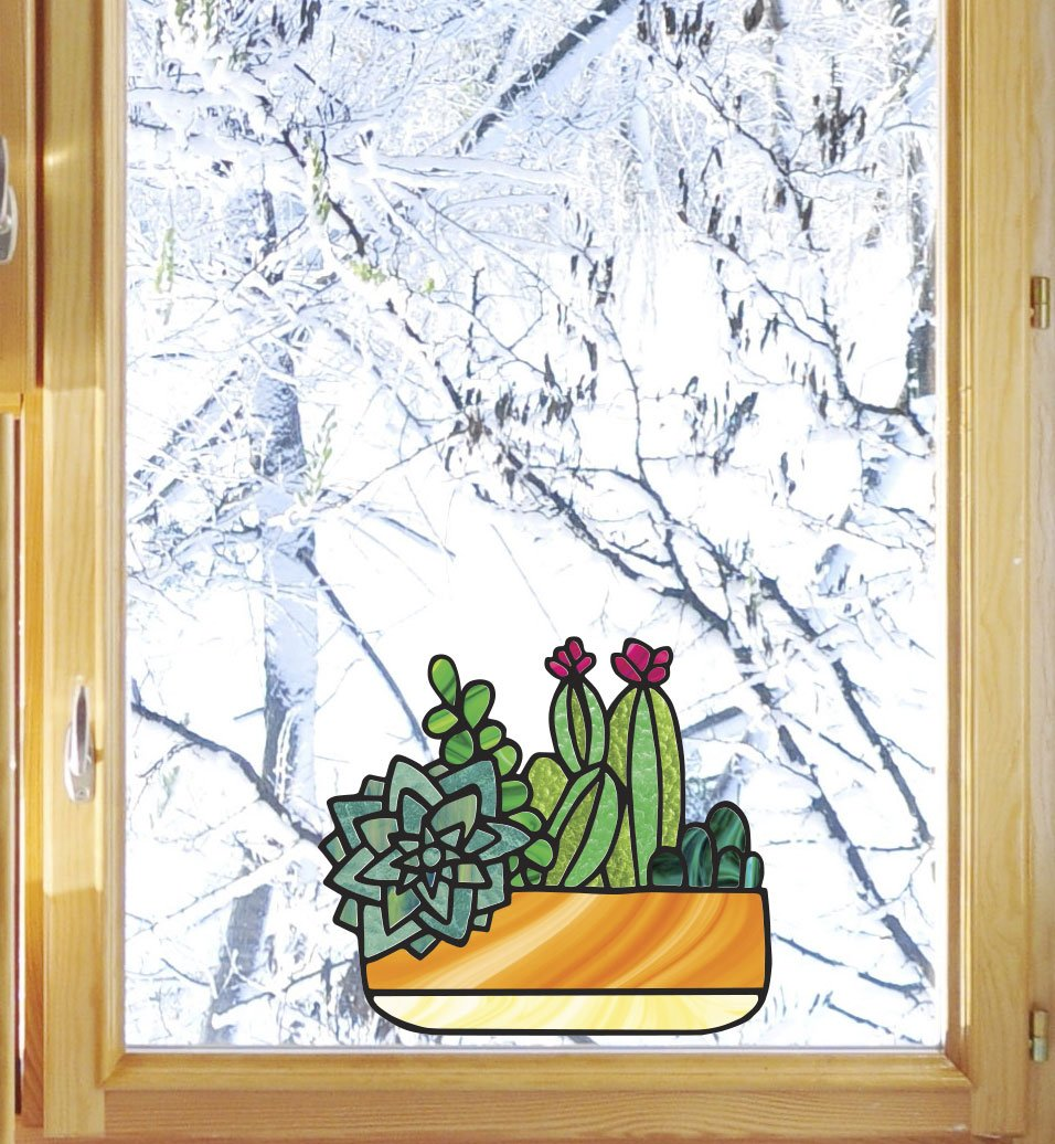 Plants - Potted Succulents -D1- Succulent Cacti Cactus - Stained Glass Style - See-Through Vinyl Window Decal - Yadda-Yadda Design Co. (Med 6