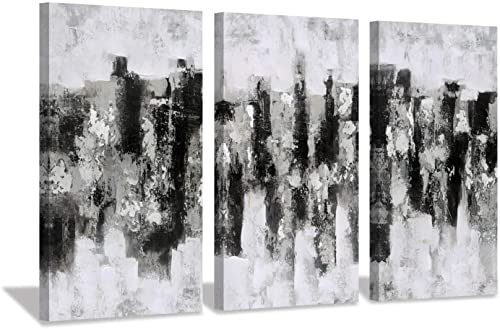 Hardy Gallery Black White Abstract Wall Art Hand Painted Painting Abstract City Skyline Picture for Living Room 26 x 16 x 3 Panels