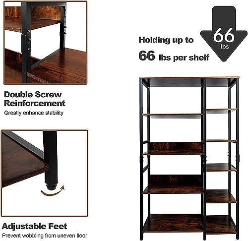 Mu 5 Tier Freestanding Rustic Industrial Bookshelf Open Display Bookcase