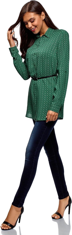 oodji Collection Donna Tunica in Viscosa con Cintura