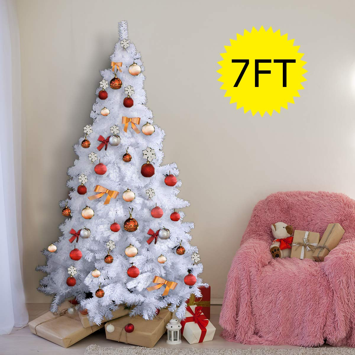 Costway White Christmas Tree Xmas Traditional Indoor Artificial