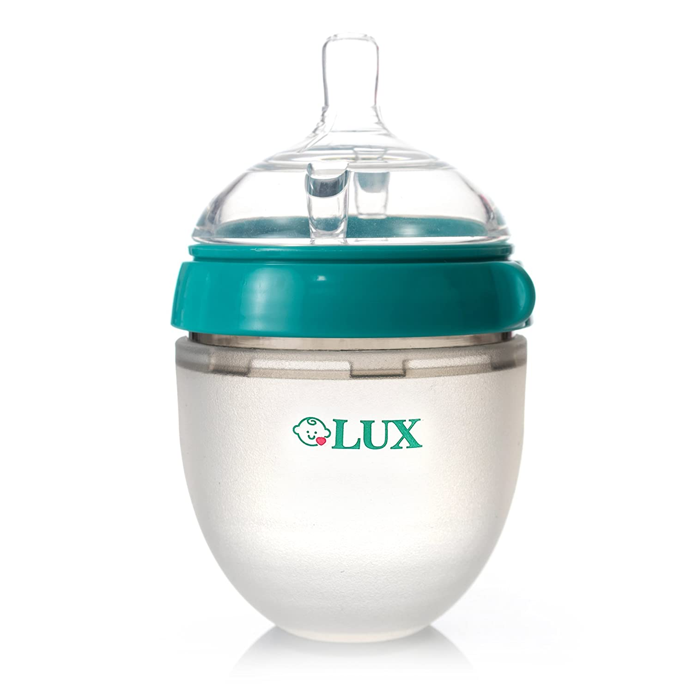 Baby Breastfeeding Nature Bottle by LUX – Slow Flow Newborn Feeding Bottle – BPA-Free Silicone – No Leak & No Waste Smart Design – Easy Transition – 5oz Slow Flow Nipple (Turquoise)