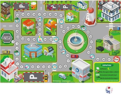 75x52cm City Traffic Road Map Play Playing Game Mat Interactive Educational Toy with Dice for Kids Children Birthday, Floor Games - Amazon Canada