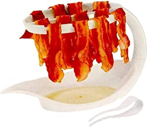 Microwave Bacon Cooker Bacon Rack Reduces Fat up to 35% for Healthy Breakfast Microwave bacon Tray Make Crispy Bacon in few Minutes with a Bonus Convenient Tong. 10.5 x 6.3 x 5.7 inch