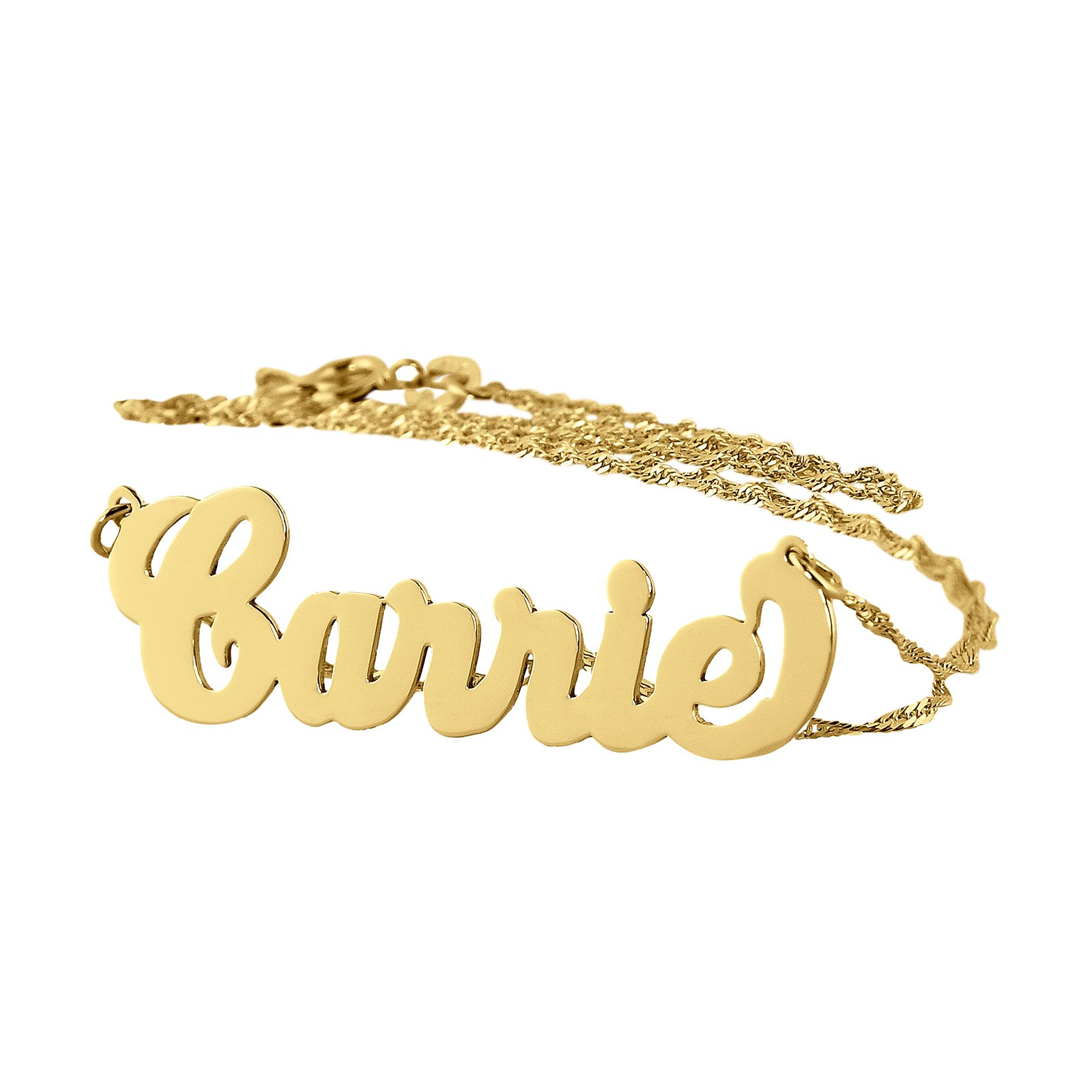 Dainty Carrie Name Necklace Personalized Solid 10k Gold Pendant 1.25 Inch Charm Chain (20) by Soul Jewelry