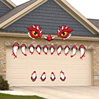 iLovepaper Halloween Monster Face Garage Door Archway Car Decorations with Eyes, Fangs, Nostrils and Non-Trace Nano Double-Sided Adhesive Tape for Halloween Outdoor Decoration Props Supplies