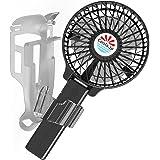 えりかけ扇風機 BodyFan(服の中へ送風可能)クールビズ/ベビーカー兼用 充電池式 携帯扇風機 (4インチファン, 黒)