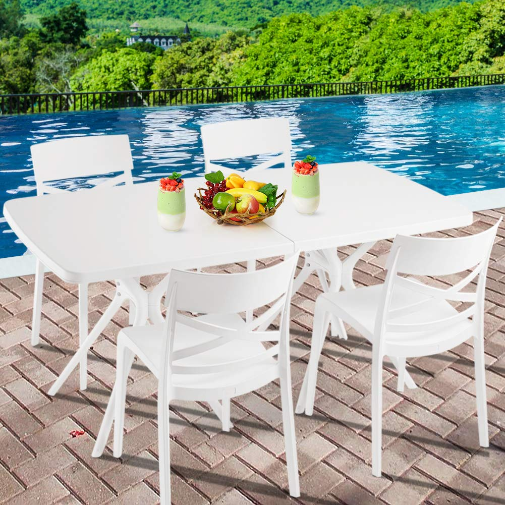 Furgle Patio Dining Table,Portable Outdoor Picnic Table,Small White Square Dining Table,Lightweight 63 x31 Compact Size for Picnic, Camp, Beach, Patio 63 x31 Table