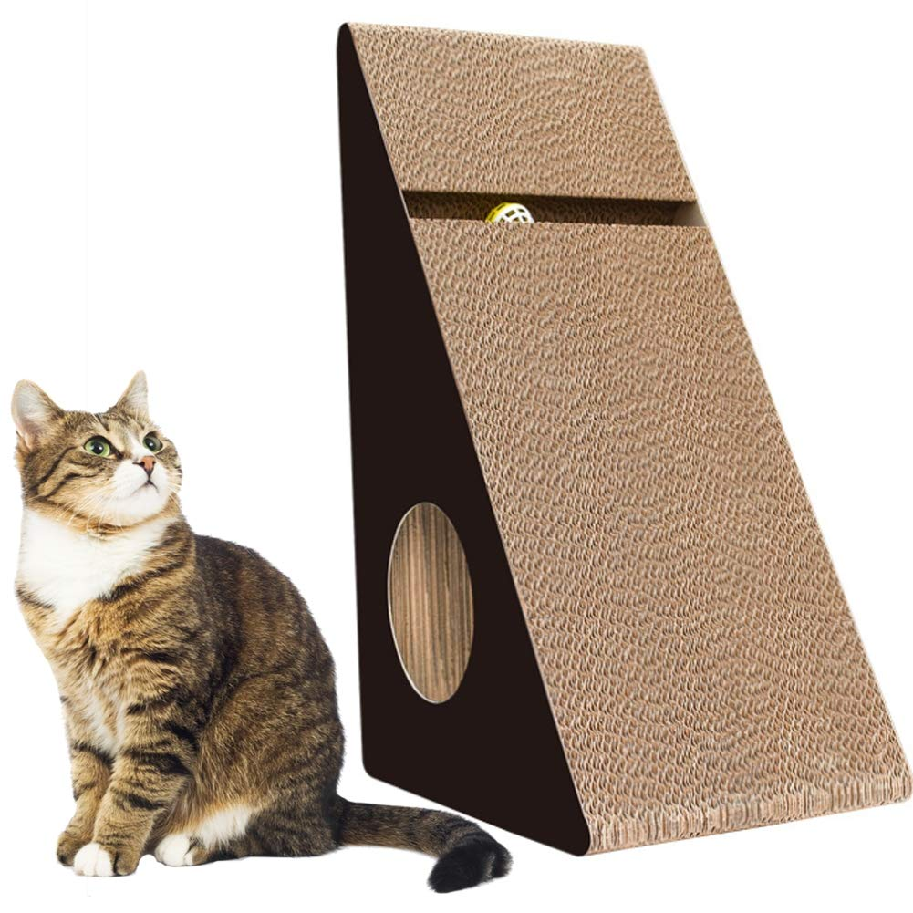PJDDP Cat Scratch Pad,Scratcher with Catnip,Scratching Posts,Cat Toy Scratch Board Lounge Corrugated Cardboard Cat Scratcher with Natural Catnip Bell Ball Toy Triangle,Black by PJDDP