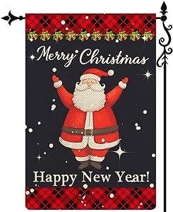 Coskaka Merry Christmas Garden Flag, Happy New Year Garden Flag Xmas Santa Claus Flag Vertical Double Sided Rustic Farmland Black Red Buffalo Check Plaid Burlap Yard Lawn Outdoor Decor 12.5x18 Inch