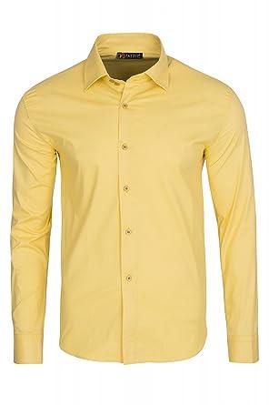 99a05368ca0b87 Tazzio Fashion Yellow Hemd Herren Langarm-Hemd Business-Hemd Gelb 12K-9000