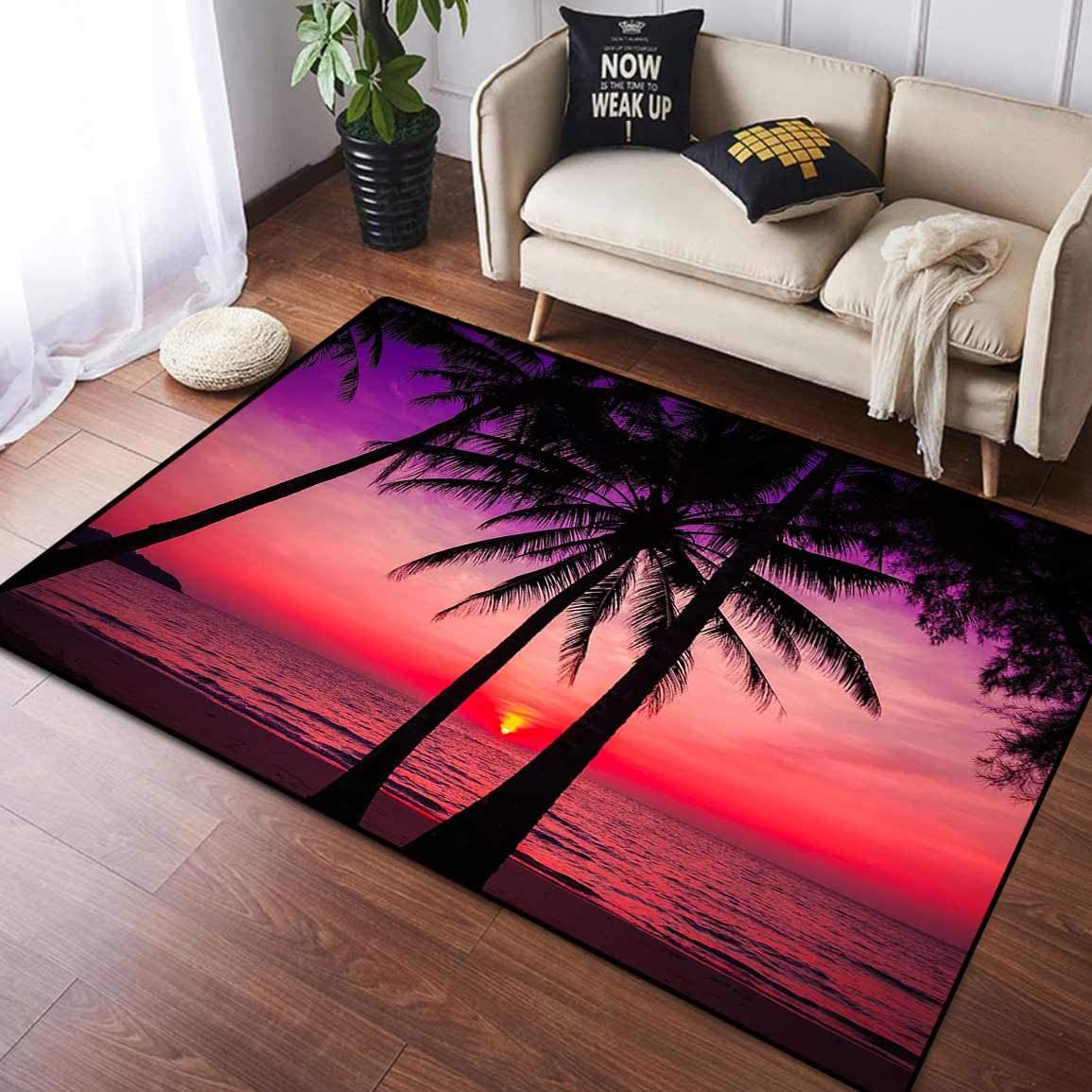 Living Room Door Mat Bedroom Floor Mat Area Rug Carpet, Palm Trees Silhouette on Sunset Tropical Beach Tropical Sunset, Floor Rugs Mat for Girls Room Kids Nursery and Baby, 4.8' x 6.6'