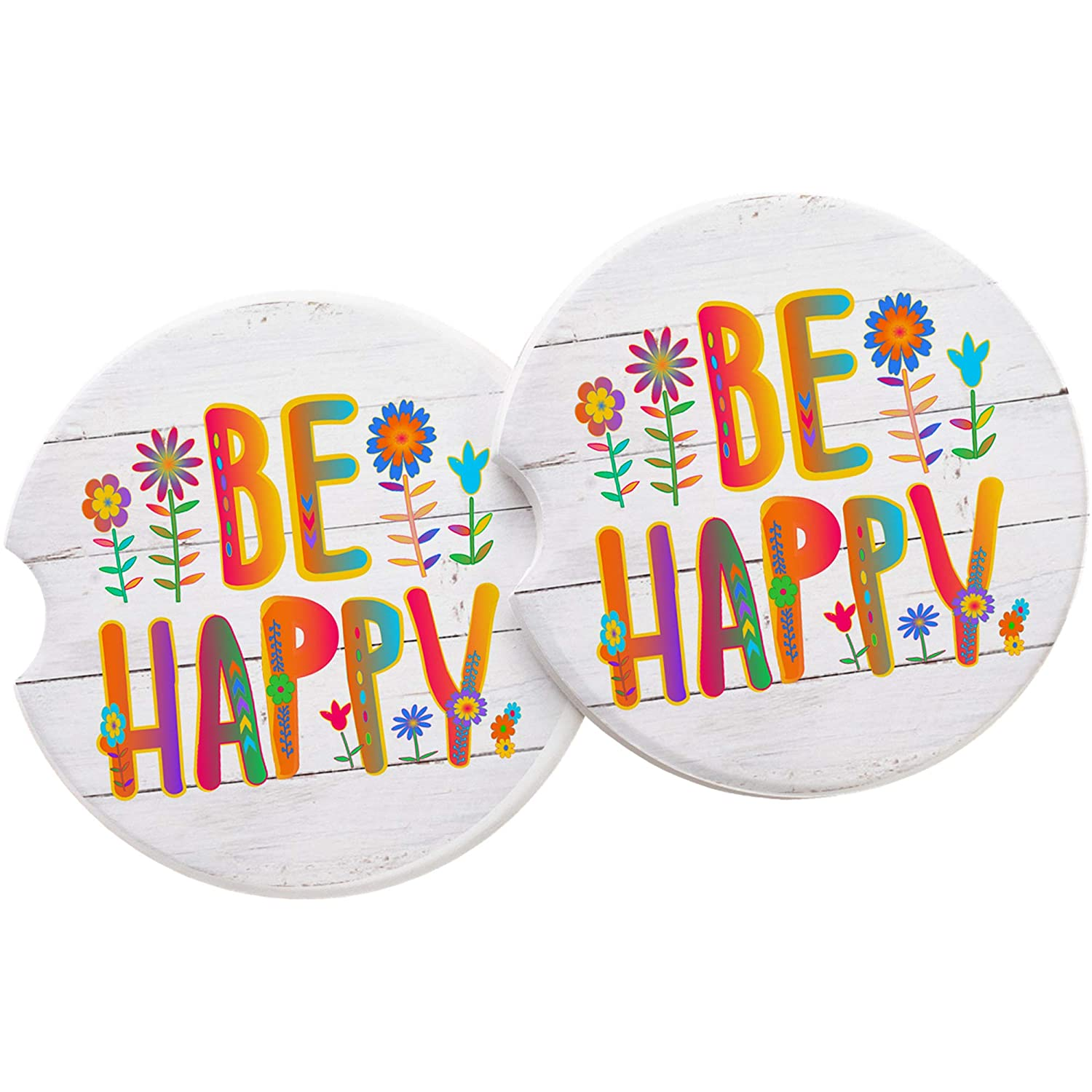 Be Happy Sandstone Car coaster Quote in Rainbow Colors and Whimsical Flowers on a Distressed Wood Image Background SET OF 2 Absorbent Auto Cup Holder Coasters