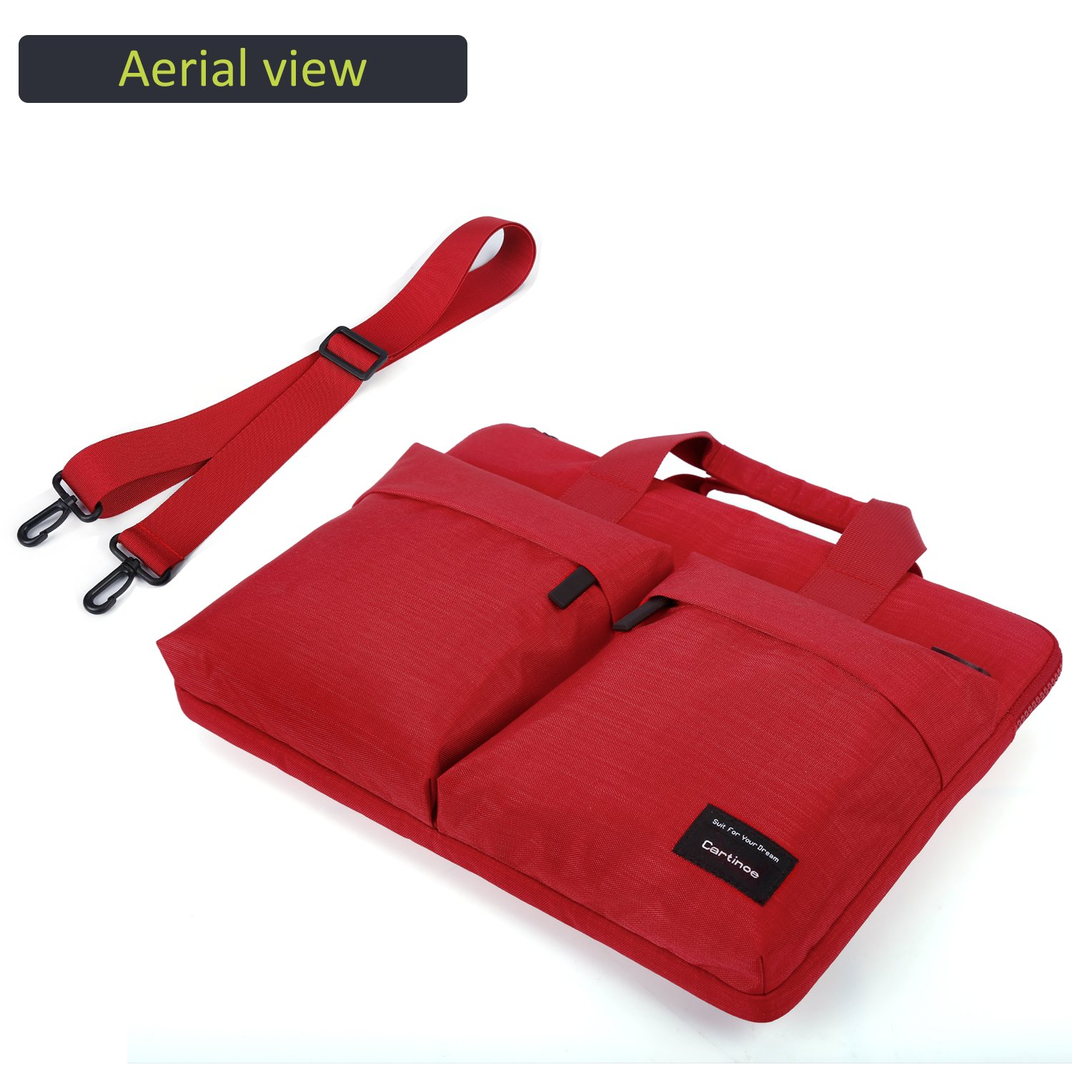 Cartinoe City 14-15 inch Laptop Briefcase Messenger Bag, Professional Business Water Resistant Shoulder bag for Apple 15.4 Inch MacBook Touchbar 15, Lenovo Dell ASUS HP Acer Chromebook 14, Red by Youpeck (Image #4)