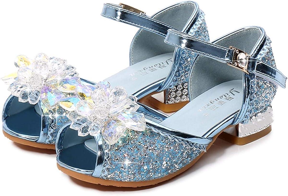 AIYIMEI Kids Girls Princess Shoes Bling Low Heel Dress Bridesmaid Sandals Elegant Comfy Latin Tango Dance Shoes Single Shoes