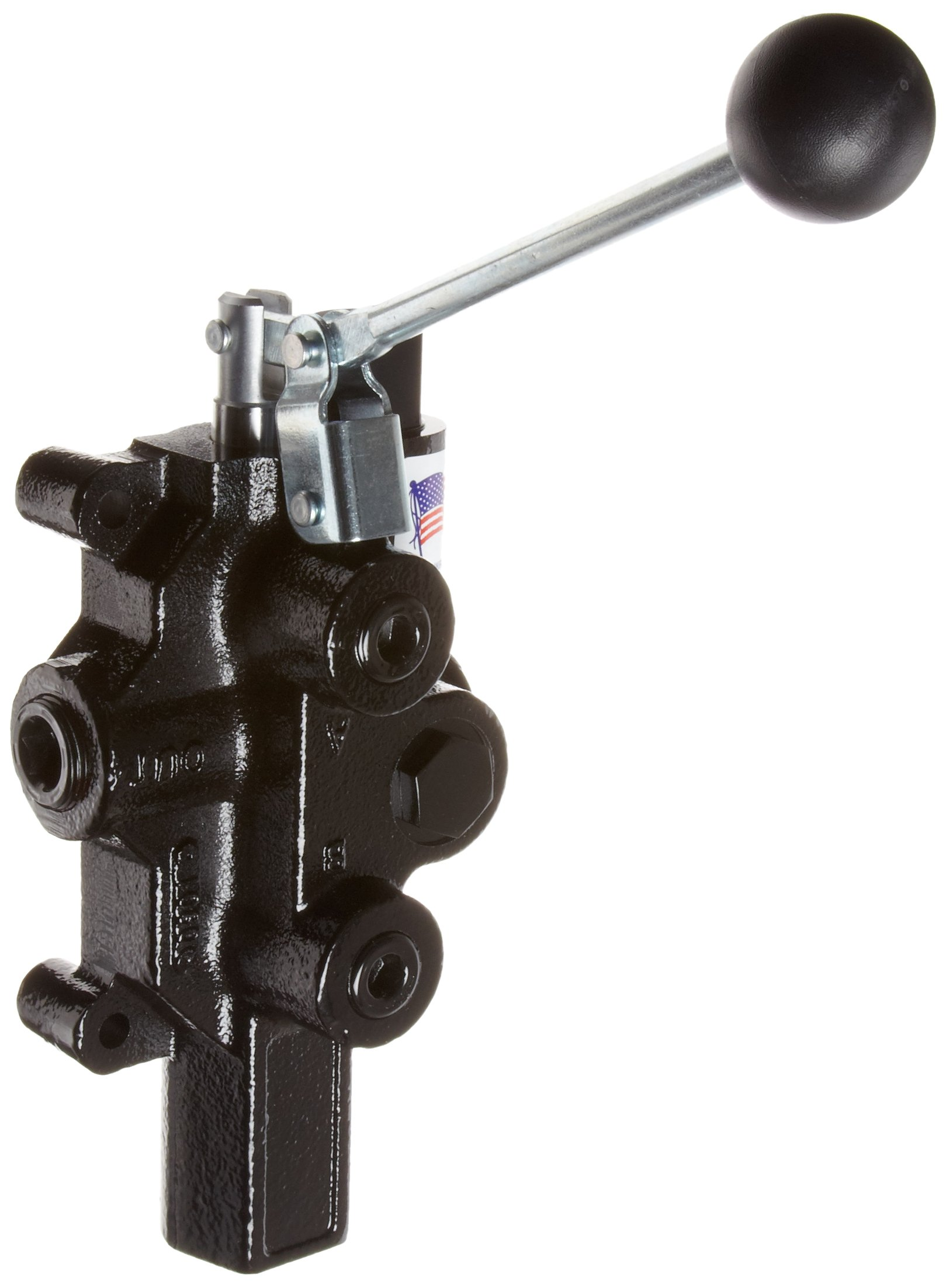 Prince RD-2575-M4-ESA1 Directional Control Valve, Logsplitter, Monoblock, Cast Iron, 1 Spool, 4 Ways, 3 Positions, Motor, Spring Center, Lever Handle, 3000 psi, 20 gpm, In/Out: 3/4'' NPT Female, Work 1/2'' NPT Female