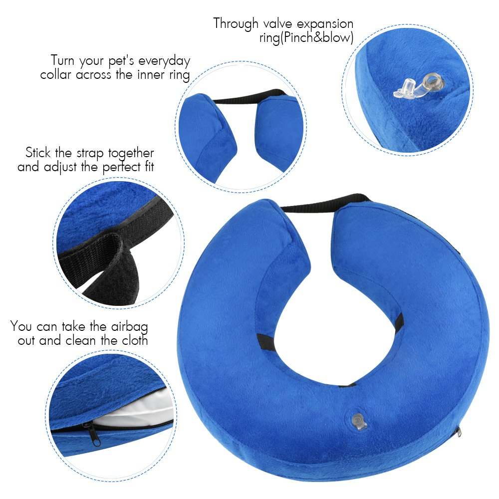 ONSON Protective Inflatable Dogs Collar, Soft Pet Recovery E-Collar for Small Medium Large Dogs and Cats, Designed to Prevent Pets from Touching Stitches (Small) by ONSON (Image #2)