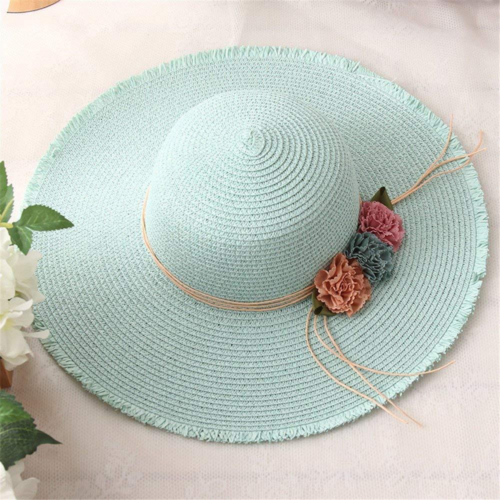 Beach Hat hat Hats Cap caps Sunhats Summer Ladies Girls Sun Beach Dome Leisure Sunscreen Green Adult (5658cm) Summer Sun Hat