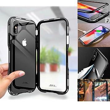 49705d8b0d Amazon | iPhone X ケース マグネット式 透明な強化ガラスと360°金属 ...