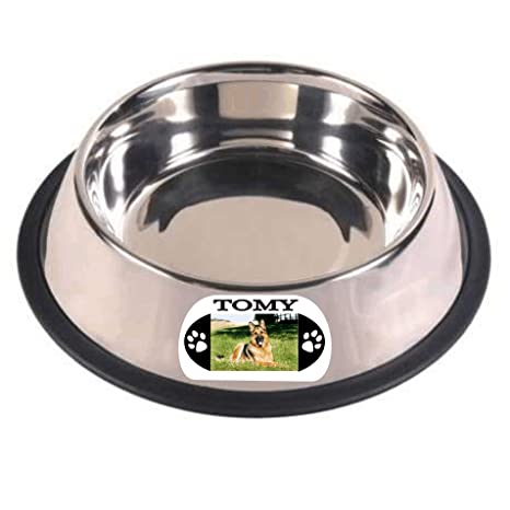 Record Fiambrera Personalizada Antideslizante de Acero Inoxidable para Perros Talla XL - 1800 Ml - ø (bajo) 29 Cm