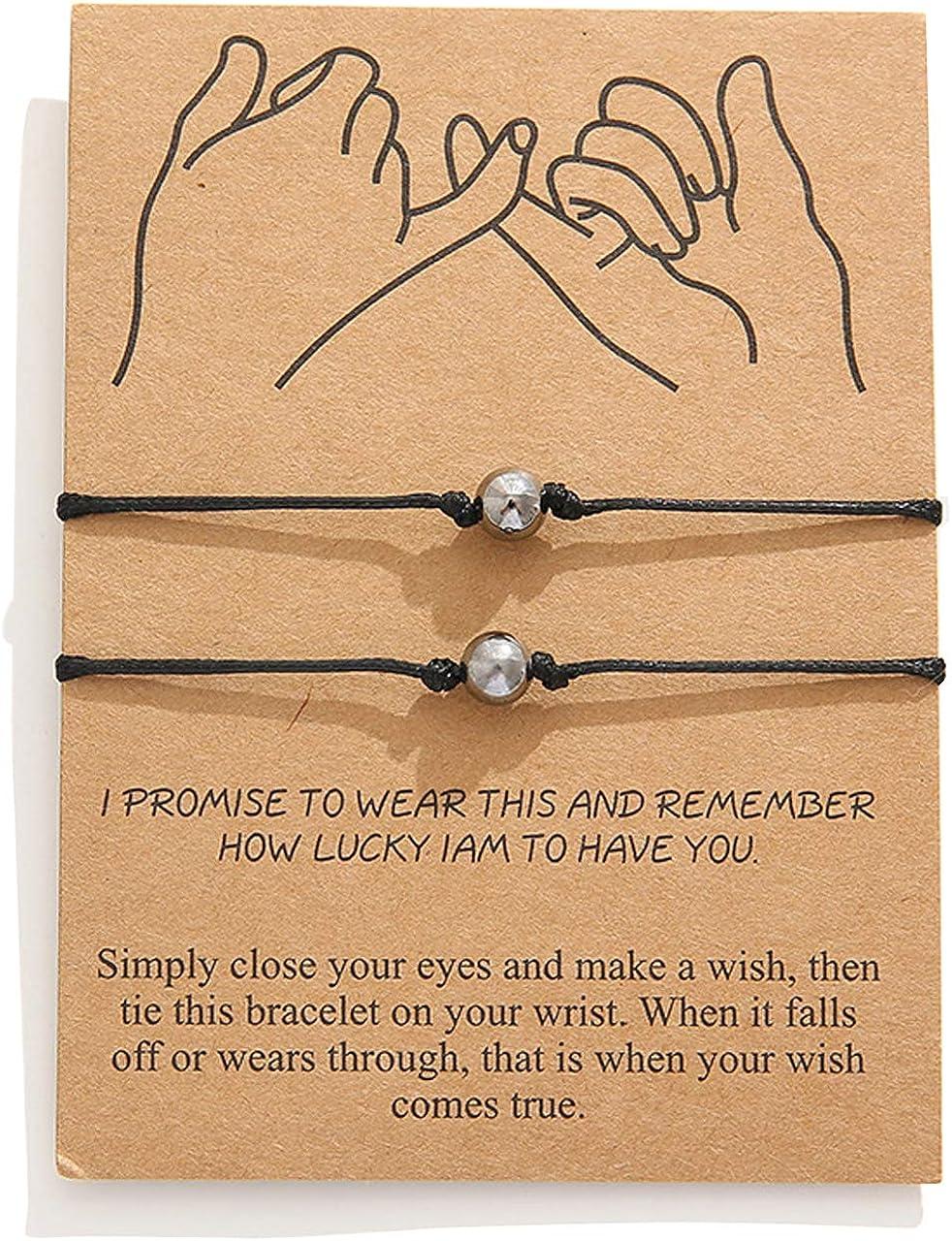 EZIO Long Distance Bracelets for Couples Friendship Best Friend Bracelets for 2,Boyfriend Girlfriend Relationship Bracelet Pinky Promise Matching Adjustable Ankle Bracelet for Women Men