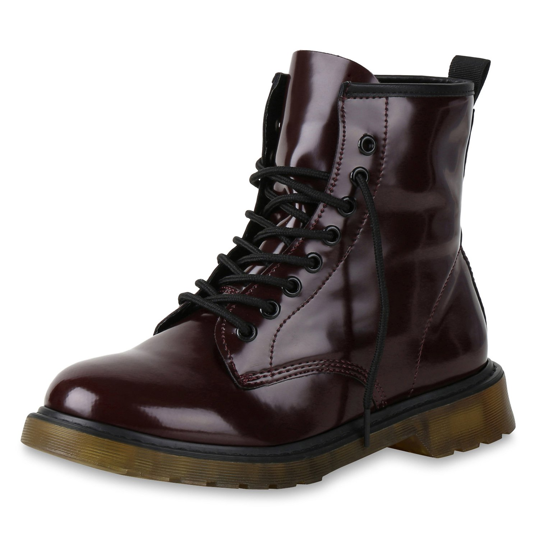 SCARPE VITA Damen Stiefeletten Worker Boots mit Blockabsatz Metallic Profilsohle Dunkelrot Lack