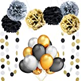 Party Balloons Decoration Supplies,100 Pack 12 Inches Ultra Thickness Gold & Silver & Black Balloons,Tissue Paper Pom Poms Flowers,Polka Dot Banners for Birthday Wedding Hawaii Party Supplies