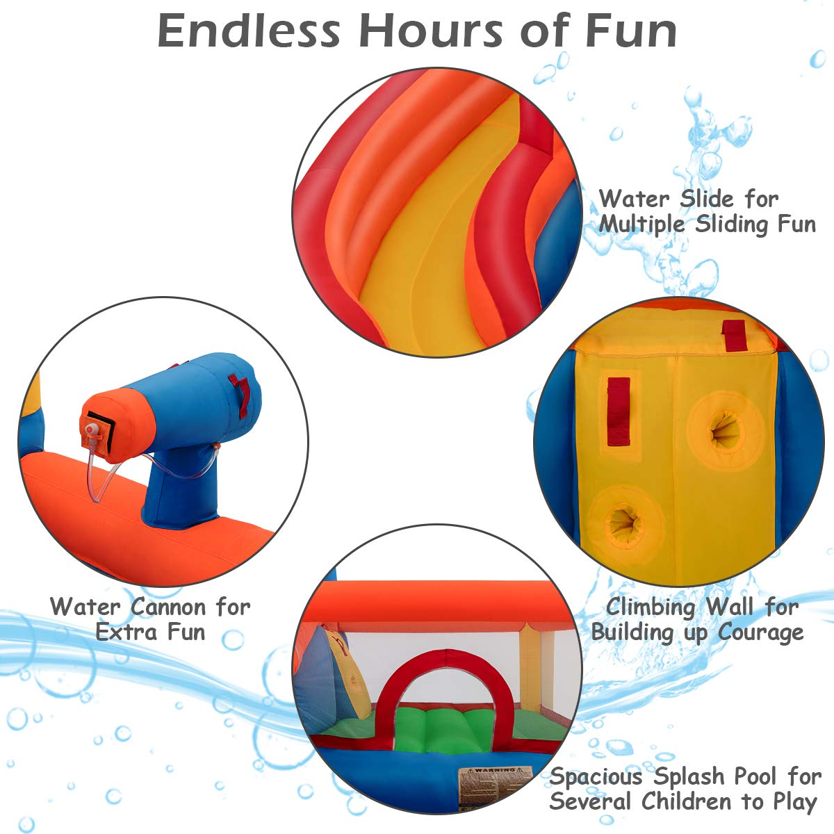Costzon Inflatable Bounce House, 5-in-1 Water Slide w/ Climbing Wall, Jumping Area, Splash Pool, Water Cannon, Including Oxford Carry Bag, Repairing Kit, Stakes, Hose, Without Blower by Costzon (Image #3)