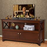 Tangkula Wooden TV Stand for TVs Up to 50 Inch, X Shape Console Storage Cabinet, Entertainment Center with 2 Doors & Shelf, H