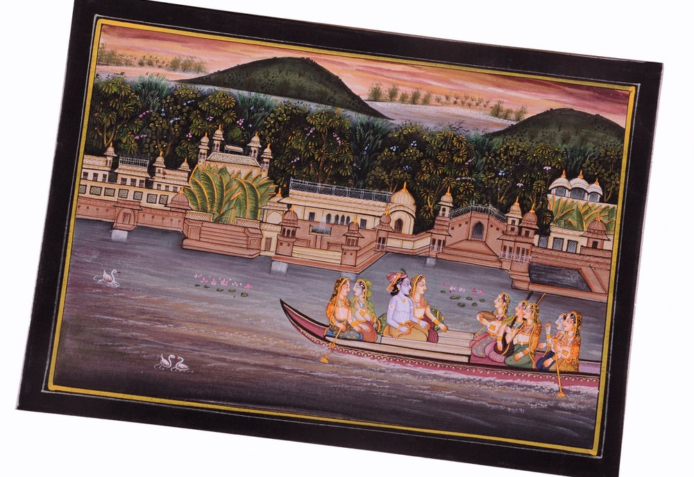 Krishna Radha Painting : Indian Hindu Religious God Goddess Lively to Decor Your Home Hotel Office Bedroom Lobby or Living Room by Handmade (Image #3)