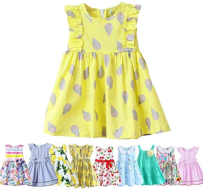 92cbcfd29453 Abalaco Girls Kids 100%Cotton Summer Pear Printed Sundress Casual Toddler Tutu  Dress (2