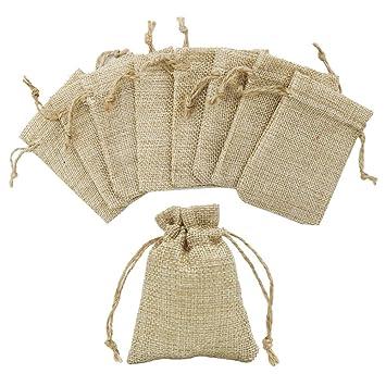 Shintop - Bolsas de arpillera pequeñas con cordón para boda ...