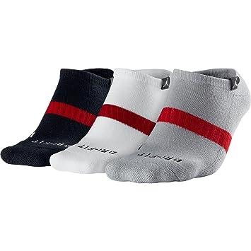 Nike Jordan Drifit No-Show 3PK - Calcetines unisex, color gris/blanco / negro/rojo, talla S: Amazon.es: Zapatos y complementos