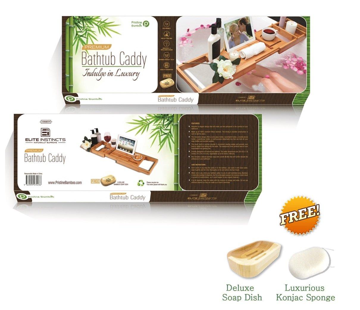 Bathtub Tray Amazoncom Pristine Bamboo Luxury Bathtub Caddy Tray With 12 In 1