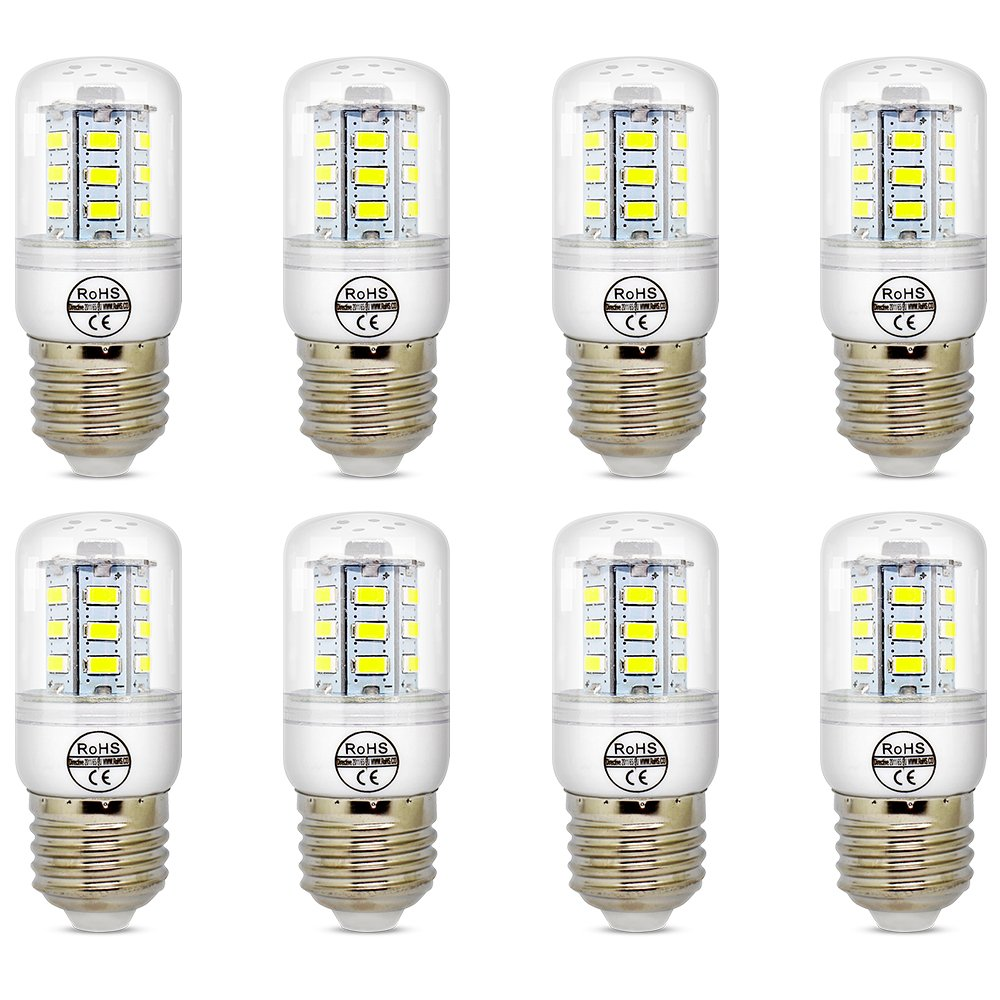 E27 5W White LED Light Bulb Lamp, Low Power Consumption, AC 110-120v, Cool White 6500K, E26 LED Corn Bulb, 40 Watts Replacement, Pack of 8 Units