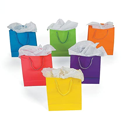 Fun Central BC742 60ct 9 Inch Colorful Gift Bag Bags