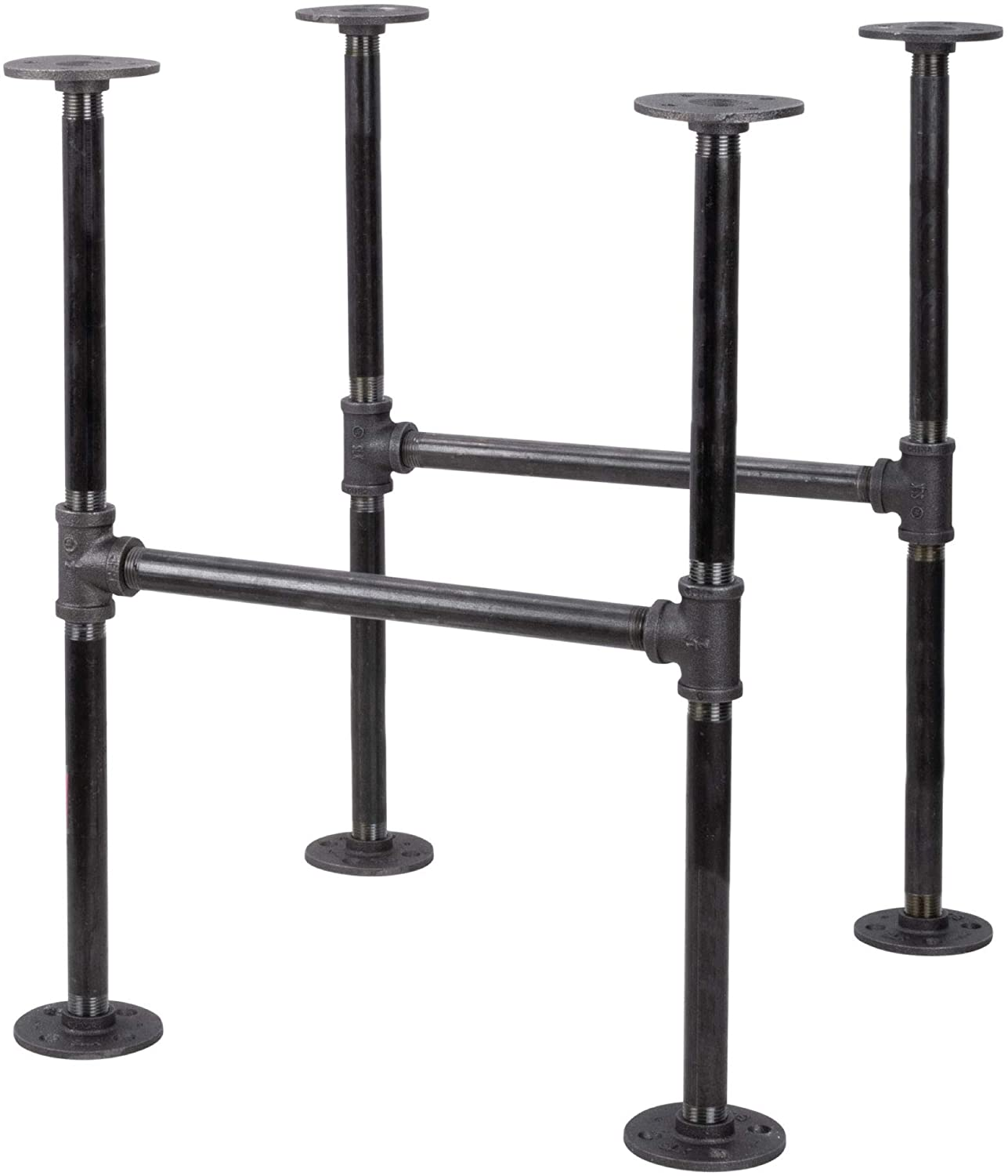 Amazon Com Industrial Pipe Decor Table Leg Set Rustic End Table Side Table Base Kit Dark Grey Black Steel Metal Pipes Vintage Furniture Decorations Diy Coffee Table Legs Mid Century Modern Double Decker Style