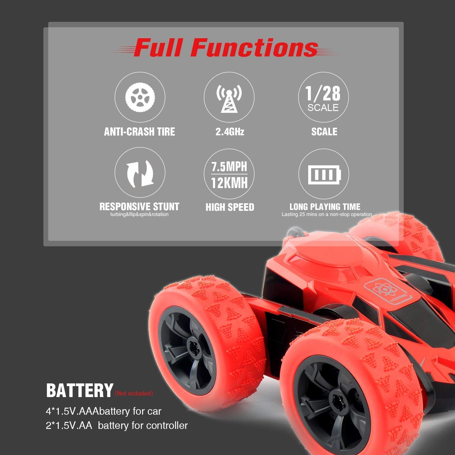 RC Cars Stunt Car Toy, Amicool 4WD 2.4Ghz Remote Control Car Double Sided Rotating Vehicles 360° Flips, Kids Toy Cars for Boys & Girls Birthday by Amicool (Image #2)