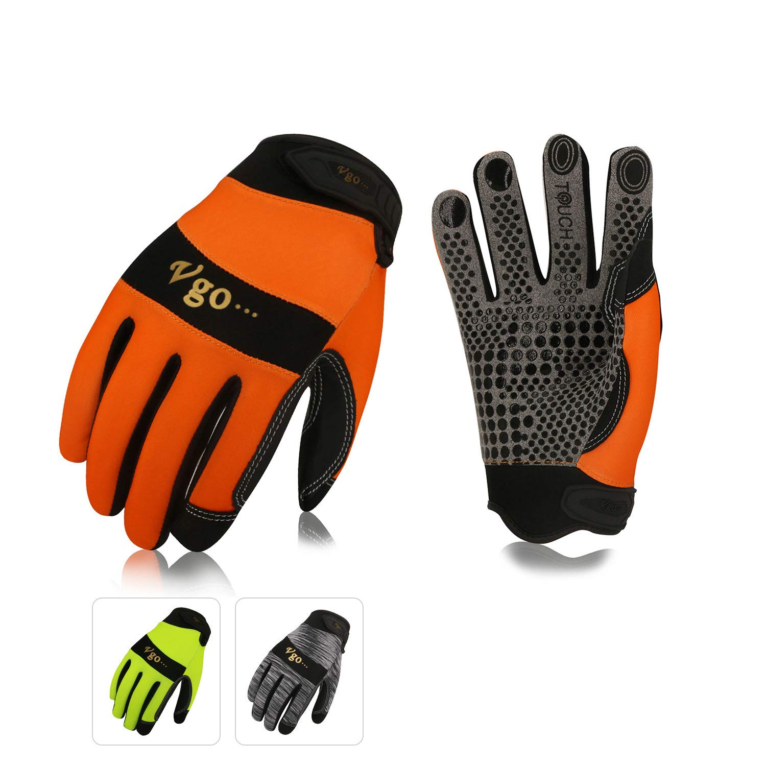 Vgo 3Pairs Work Glove, High Dexterity Synthetic Leather with Silicone for Antislip,Multipurpose(3 Color,Size L,SL7898)