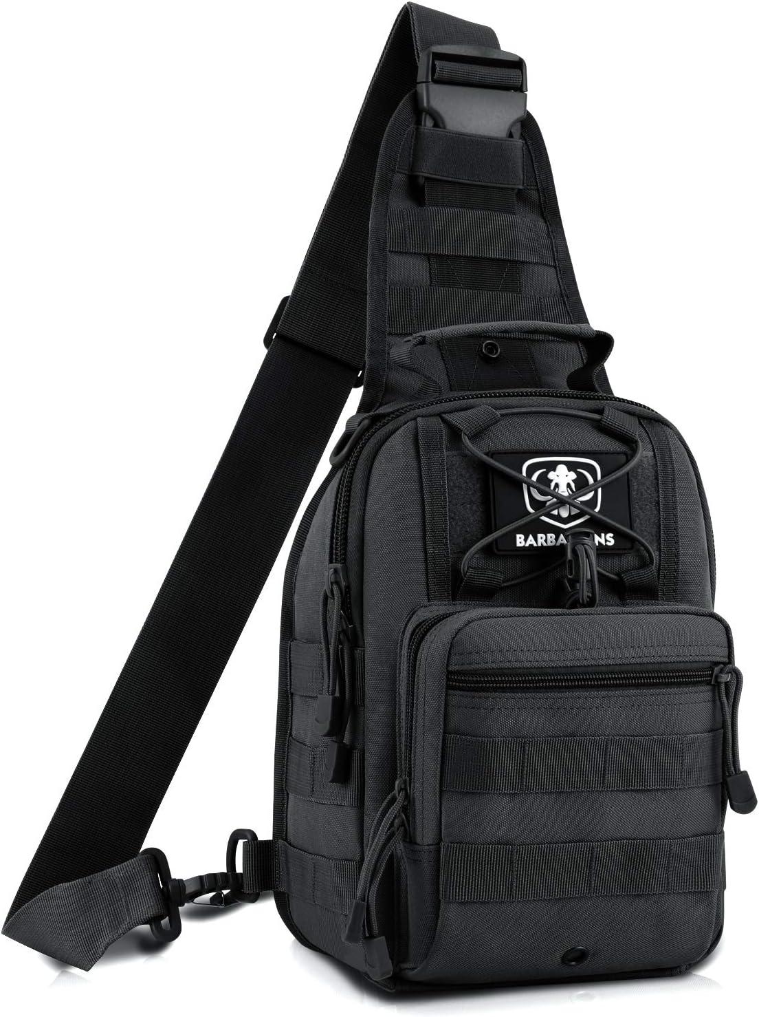 Tactical Sling Bag Pack Bárbaros Militar Bolsa de Hombro Satchel, Gama Molle Bolsa Mochila Mochila, Negro: Amazon.es: Deportes y aire libre