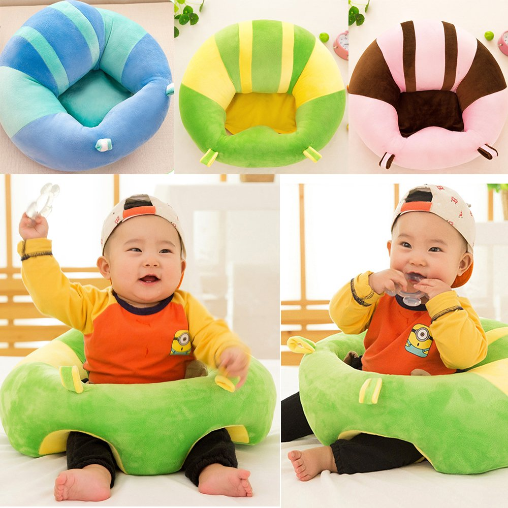 XABegin Colorful Pattern Cotton Baby Support Seat Soft Pillow Cushion Sofa Plush Toys Children's Furniture Round Chair Seat (blue)