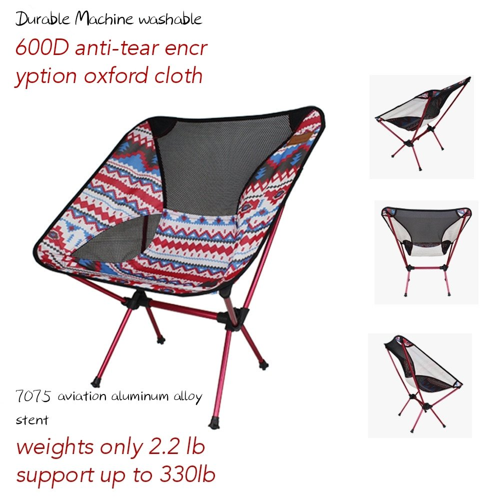 Portable Beach Chair Outdoor Folding Chair Portable Moon Chair Compact Ultralight Folding Camping Chairs Lightweight Heavy Duty Outdoor Chair for Travel Fishing Picnic Leisure Supports 330 lb